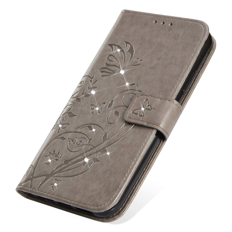 SainCat Custodia iPhone X Cover iPhone XS Strass a Portafoglio