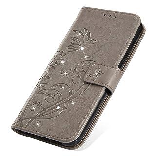 SainCat Cover per iPhone 7/8, Custodia Libro Portafoglio Pelle con Bling Bling Glitter Strass Funzione Supporto Chiusura Magnetica Flip Wallet Cover per iPhone 7/8-Grigio