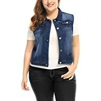 uxcell Agnes Orinda Women's Plus Size Single Breasted Denim Vest w Two Flap Chest Pockets