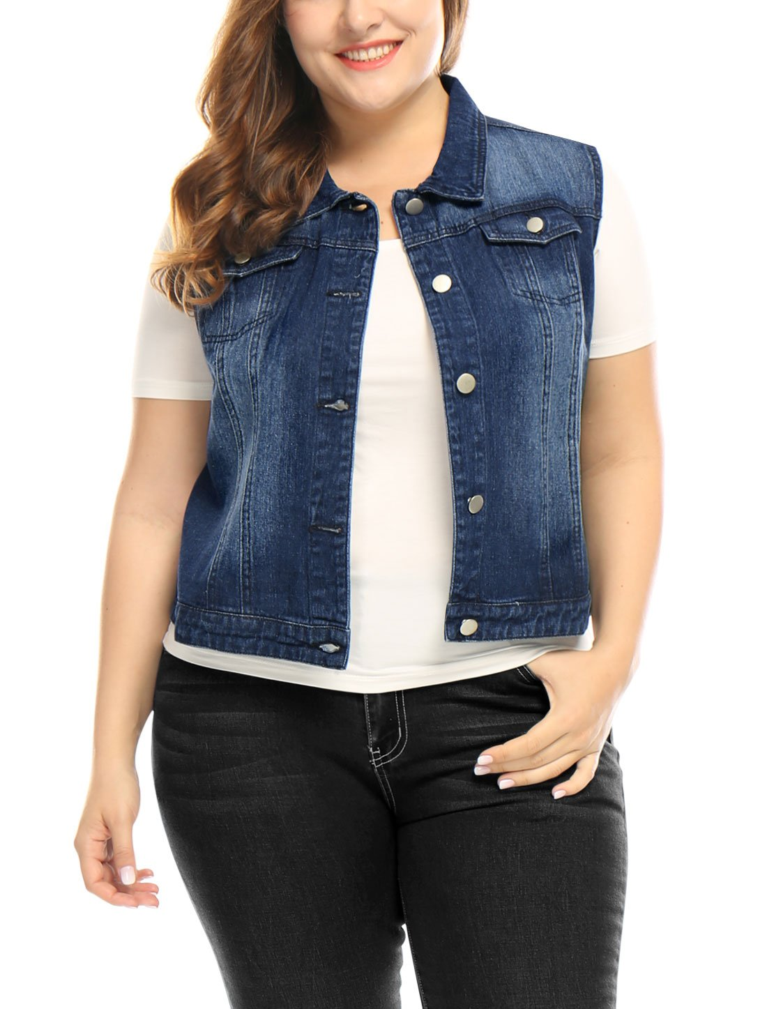 uxcell Women's Plus Size Single Breasted Denim Vest w Two Flap Chest Pockets s18040800it0293