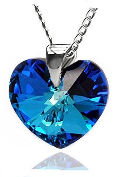cd0aad4cab71c Eternal Love Luxe Tamaño pequeño azul collar con colgante de corazón para  mujer fabricado formado con cristales de Swarovski  Amazon.es  Joyería