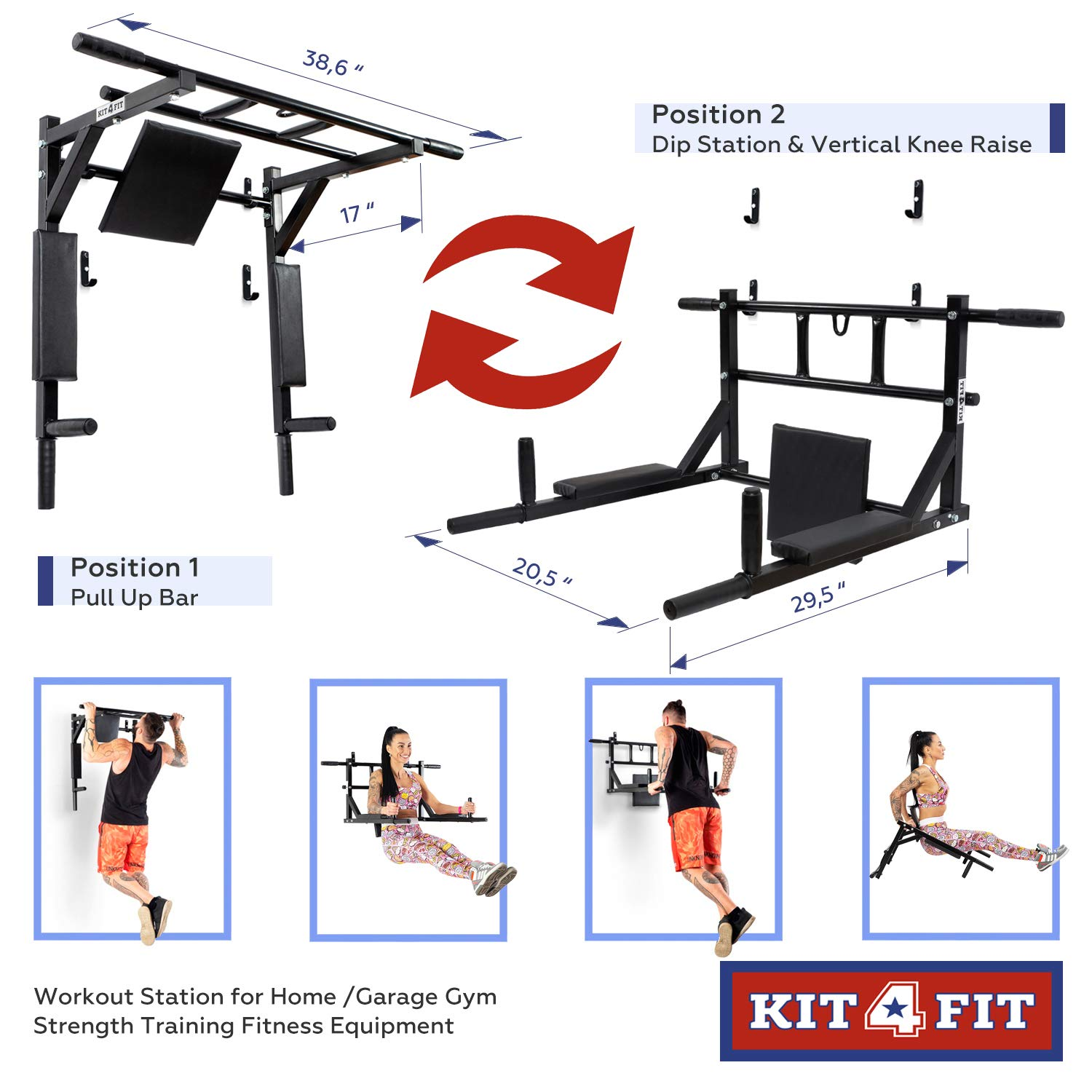 Wall Mounted Pull Up Bar and Dip Station with Vertical Knee Raise Station Indoor Home Exercise Equipment for Men Woman and Kids Great for Workout and Fitness (Black) by Kit4Fit (Image #2)