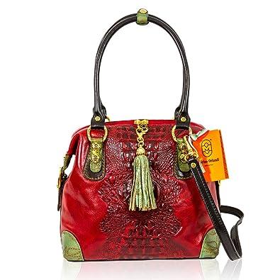 19d146f900 Marino Orlandi - Sac à bandoulière sac à main en cuir rouge alligator  italien