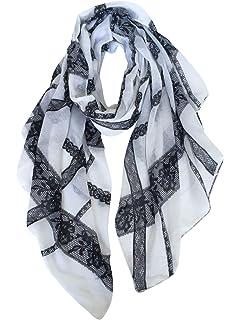 LD Foulard Femme Soie Polyester Écharpe Tissu Satiné Doux Art à la ... f51ef123152