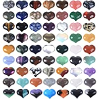JUST IN STONES Assorted Gemstone Mini Puffy Heart Healing Crystal Pocket Stone Rock Collection Box Boxed 24pcs 25mm…