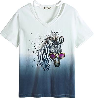 Soeach WomenS Animal Zebra Art Dip-Dyed Tee Hollow T-Shirt Casual Top: Amazon.es: Ropa y accesorios