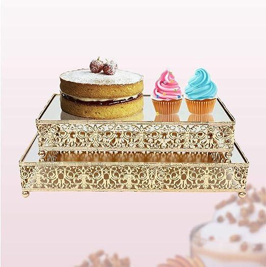 Amazon Com 2 Piece Cake Stand Set Glass Top Dessert Gold
