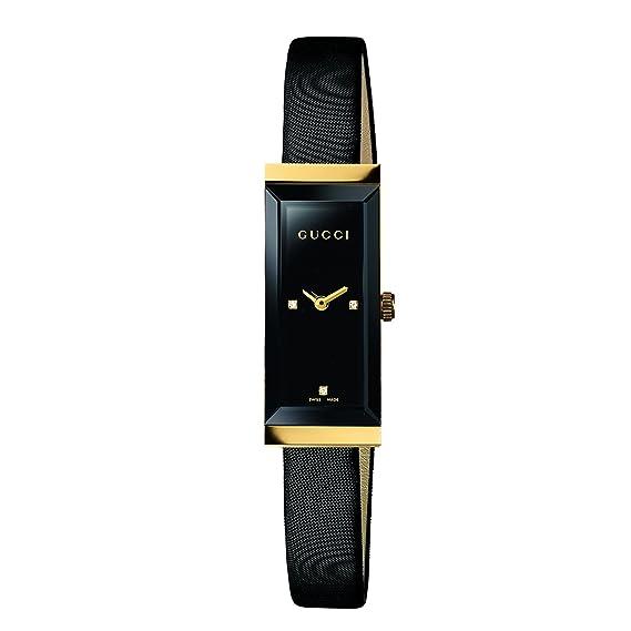 68bfc723e27 Gucci Women s YA127506 G-Frame Rectangle Black Satin Strap 18K Case Watch   Amazon.ca  Watches
