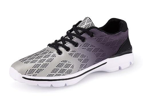 UMmaid Chaussures de Sport pour Hommes, Chaussures de Course Sports Fitness Gym Athlétique Baskets Sneakers (45 EU, Gris-2)