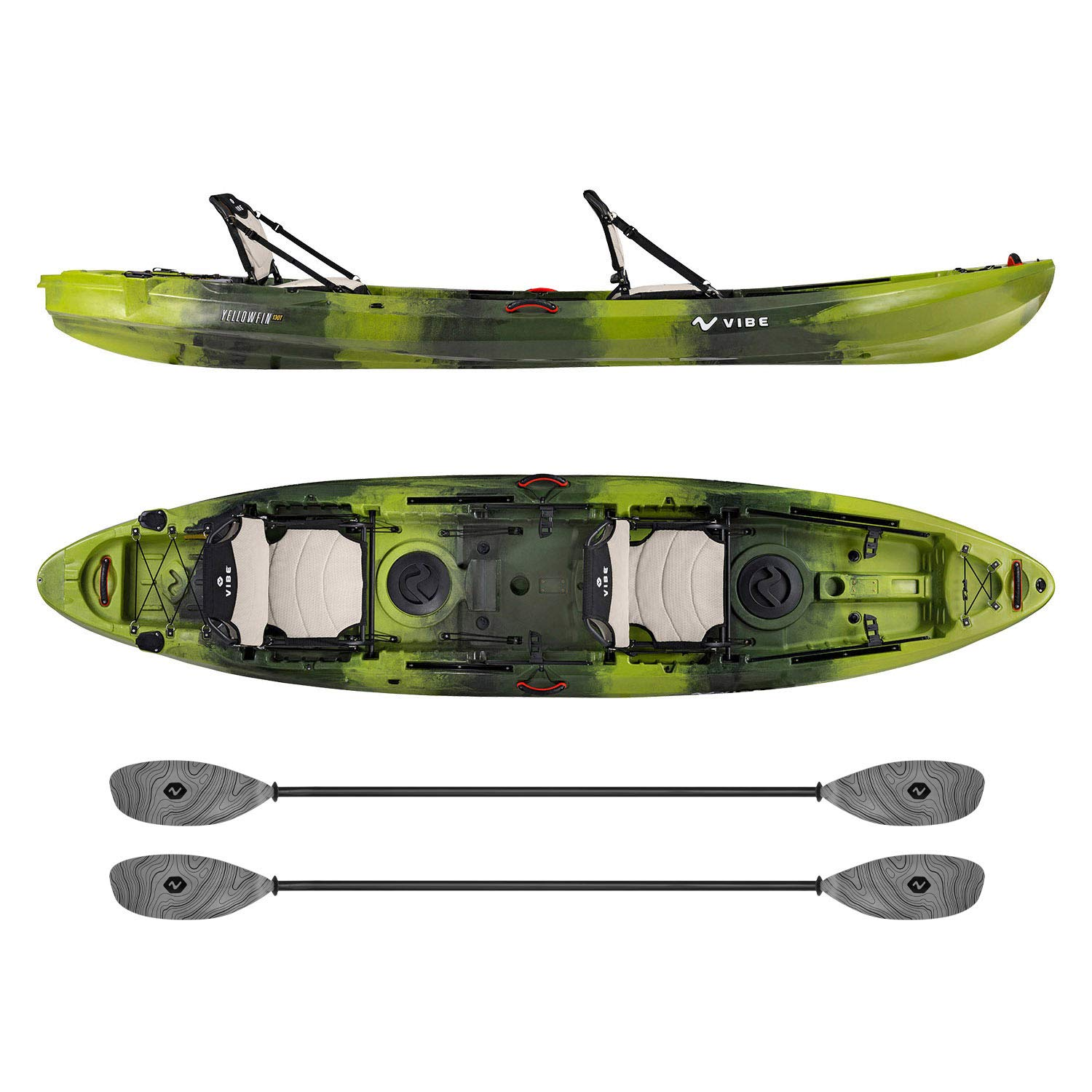 Vibe Kayaks Yellowfin 130T | 13 Foot | Tandem Angler and Recreational Two Person Sit On Top Fishing Kayak with 2 Paddles and 2 Hero Comfort Seats (Moss Camo - Smoke Gray Evolve Paddle)