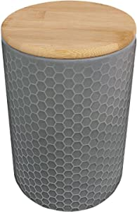 Blue Donuts 50 Oz Ceramic Airtight Jar with Bamboo Lid, Ceramic Airtight Food Storage Containers, Ceramic Kitchen Canisters, 1478 ML Airtight Jar, Airtight Food Storage Containers for Pantry, Grey