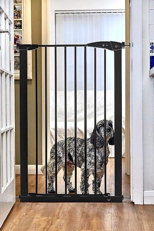 CALLOWESSE Barrera de Seguridad Extra-Hecha Para Niños & Mascotas 75-82cm x 110cm - A Presión (Negra): Amazon.es: Bebé