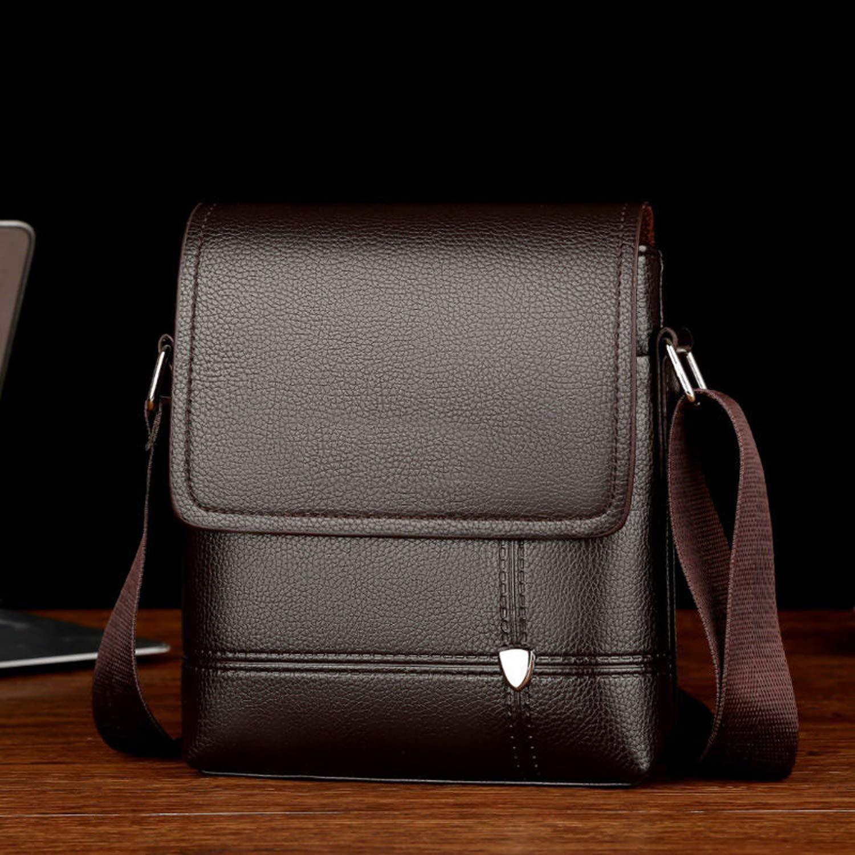 Business Travel MenS Pu Solid Color Large Capacity Messenger Bag Classic Casual Messenger Bag