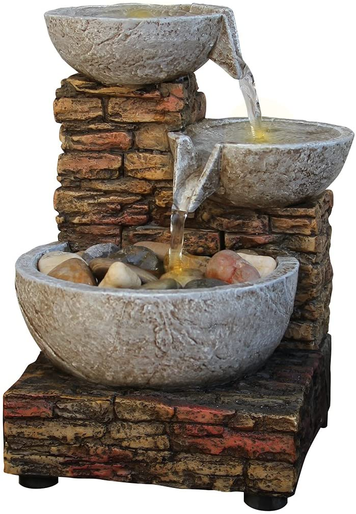 Newport Coast Cascading Bowl and Brick LED Fountain