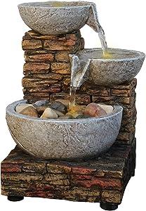 Newport Coast Cascading Bowl and Brick LED Fountain