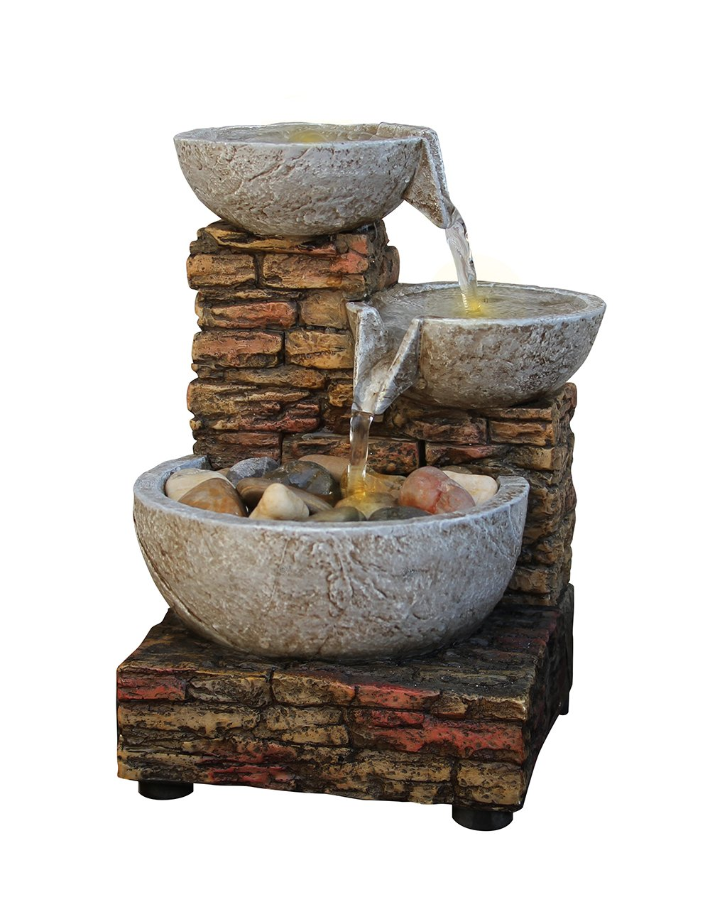 Cascading Bowl and Brick LED Fountain Imported 07319