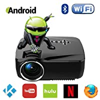 Android WiFi Bluetooth Projector (Warranty Included), Support Full HD 1080P, ERISAN Multimedia Mini Pro Portable LED Projector For Home Theater Movie Video Games