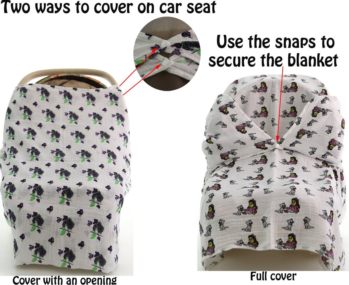 Car Seat and Carrier Cover ChaBabee Stroller Muslin Cotton Baby Swaddle Blanket Set 2 Pack Unisex with Corner Snaps for Secure Nursing