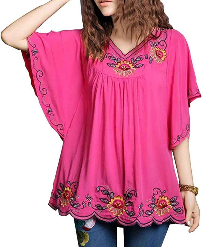 Blue floral embroidered butterly sleeve top