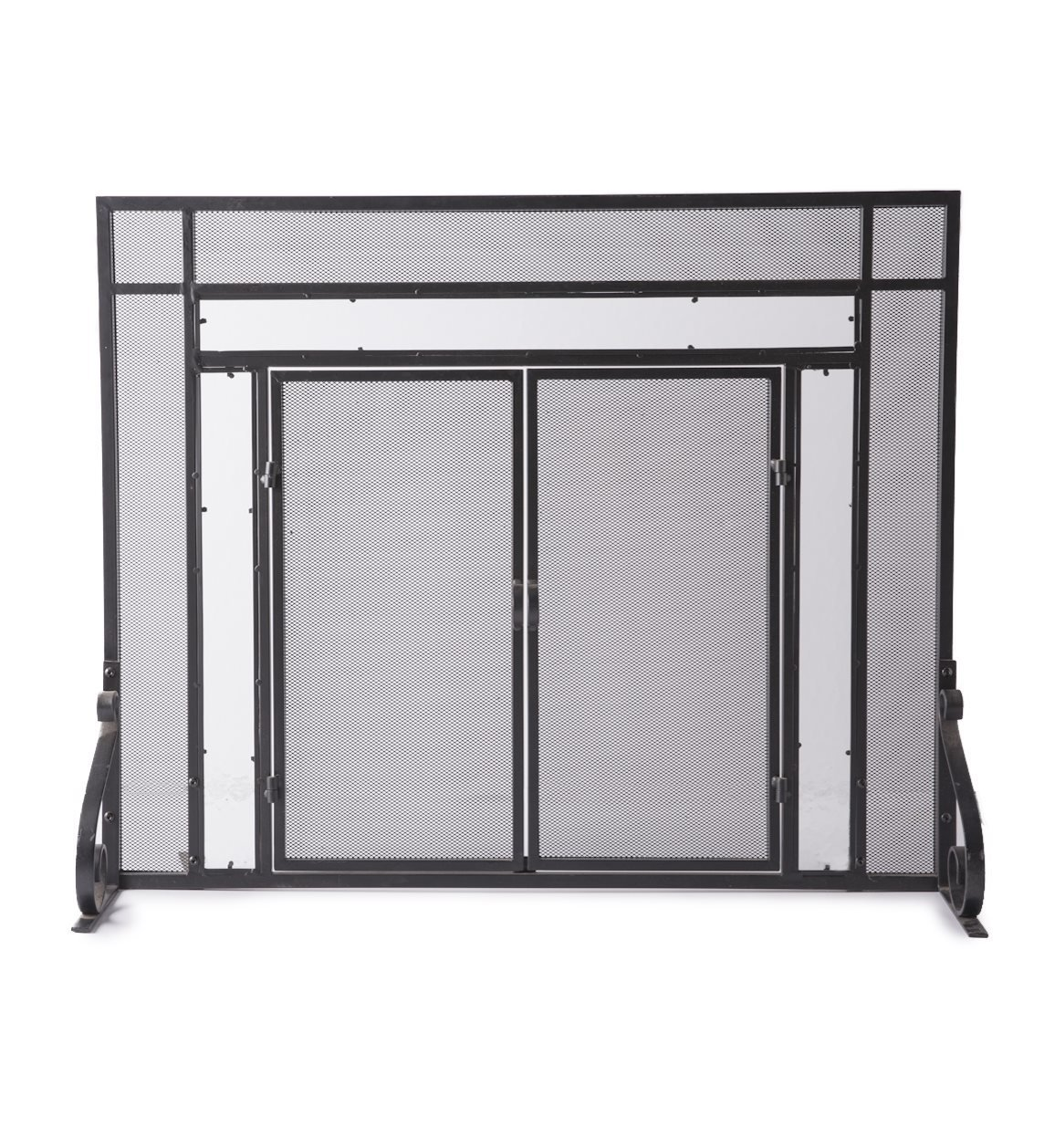 Plow & Hearth Small Fireplace Screen with Hinged Magnetic Doors, Tubular Steel Frame, Tempered Glass Accents, Metal Mesh, Free Standing Spark Guard, Decorative Design, Matte Black Finish, 38 W x 31 H by Plow & Hearth