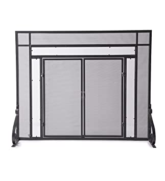 Small Fireplace Screen With Hinged Magnetic Doors, Tubular Steel Frame,  Tempered Glass Accents,