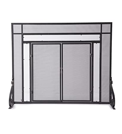 Terrific Plow Hearth Small Fireplace Screen With Hinged Magnetic Doors Tubular Steel Frame Tempered Glass Accents Metal Mesh Free Standing Spark Guard Download Free Architecture Designs Grimeyleaguecom