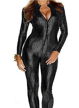 WHG Femmes en Peau de Serpent Sexy Jumpsuit Costume Vêtements en Cuir Body  Zipper Lingerie Leather c5789595c7a
