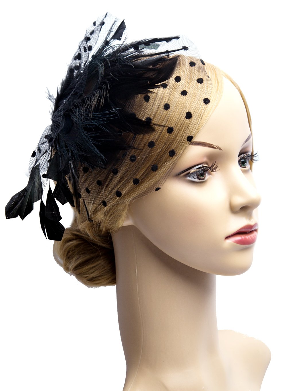 Fascinators 20s Gatsby Flapper Acessories Art Deco Party Accessory Flapper Headpiece with Peacock Feather (Black)