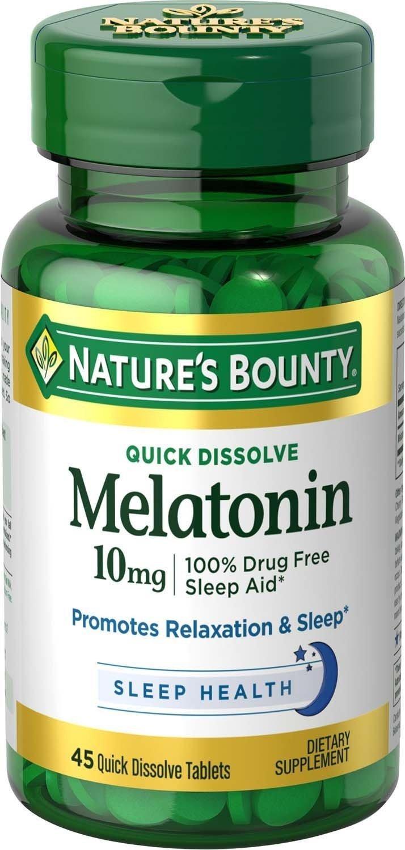 Amazon.com: Nb Melatonin 10mg Quick D Size 45ct Nature Bounty Melatonin 10mg Quick Dissolve Tablet 45ct: Health & Personal Care