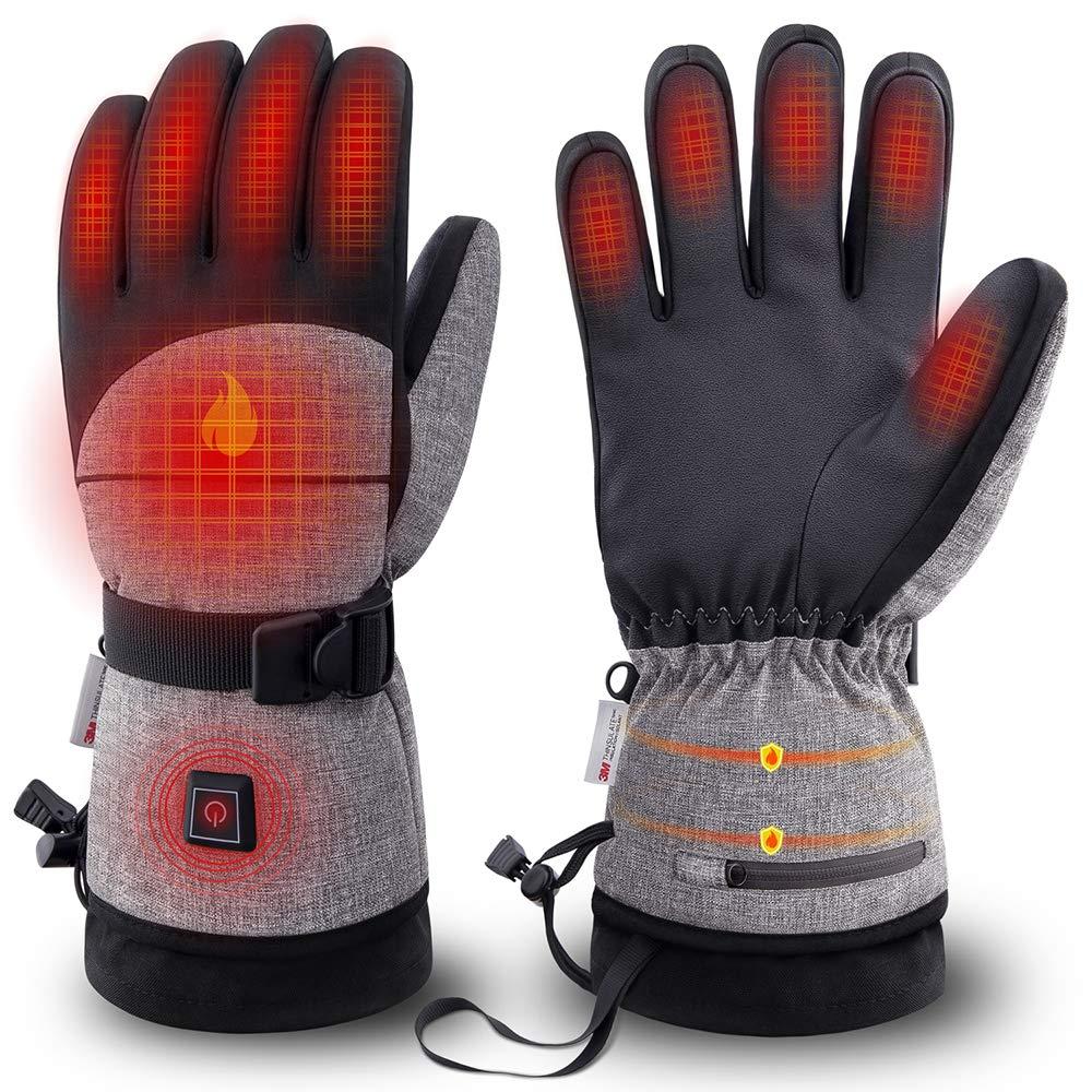 Foern Elektrisch Beheizbare Handschuhe für Herren Damen Warm wasserdicht Winddicht rutschfest atmungsaktiv Handschuhe Winterhandschuhe Thermohandschuhe