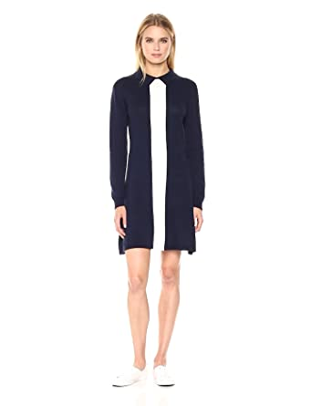 f1e23c72aee Lacoste Women s Long Sleeve Color Block Jersey Wool Polo Dress