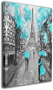weyi Black and White Paris Eiffel Tower Turquoise Abstract Teal Blue Wall Art Canvas Matte Prints Painting 12x16inch Home Decor for Living Room Bedroom Bathroom