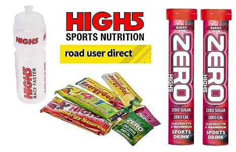 High 5 Paquete – Botella de agua y geles de energía etc. Plus 2 tubos