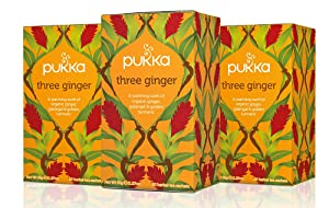 Pukka Three Ginger, Organic Herbal Tea With Galangal & Turmeric (3 Pack, 60 Tea Bags)