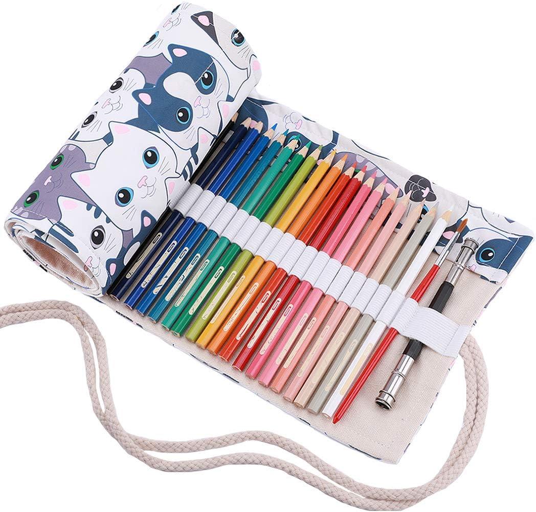 Portamatite arrorolabile per matite colorate sacchetto della matita Amoyie medio72 holes