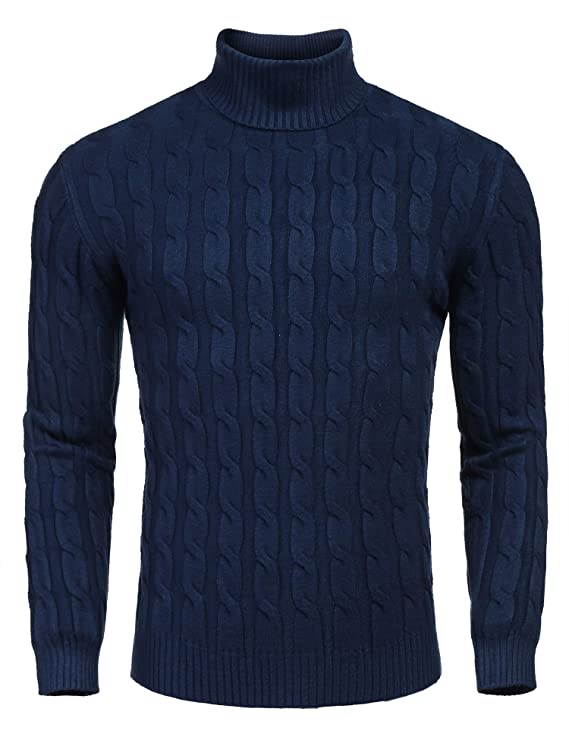 COOFANDY Men's Slim Fit Turtleneck Sweater Casual Twisted Knitted Pullover Sweaters, Navy Blue, Large best men's turtlenecks
