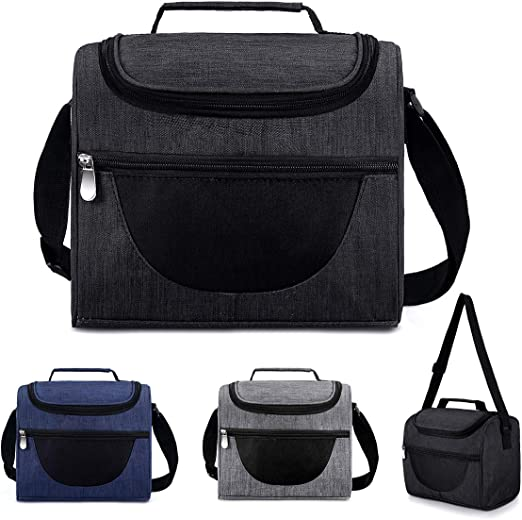 Portable Insulated Lunch Bag Box Work Office School Adjustable Shoulder Strap