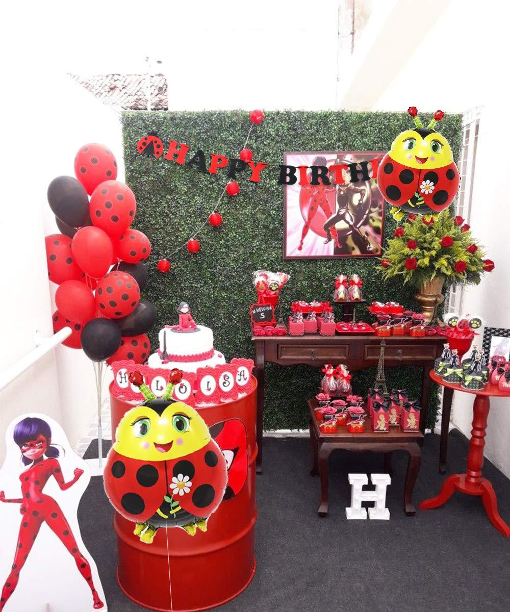 JOYMEMO Ladybug Party Decorations Supplies Ladybug Globos ...