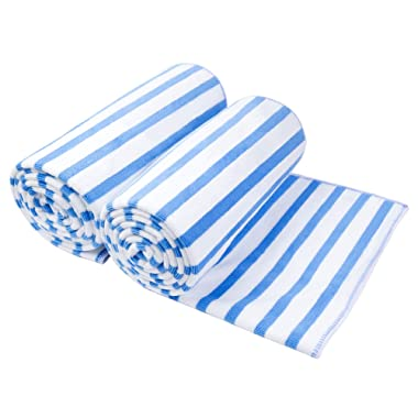 JML Microfiber Beach Towels, Bath Towel (2 Pack, 30  x 60 ) Cabana Stripe Absorbent and Quick Dry Beach Towel Set for Adults, Travel, Summer, Sport, Swimming, Pool, Yoga, Camping, Blue