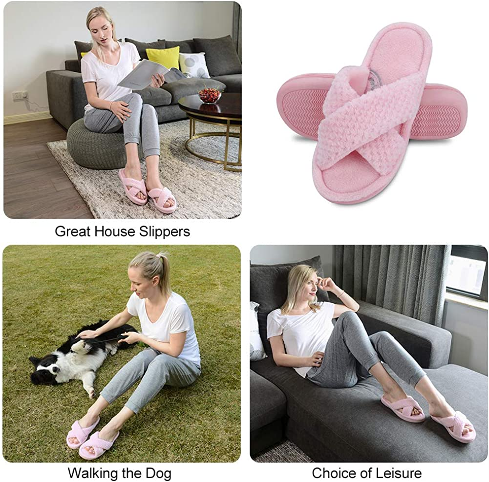Memory Foam Slip on Home Shoes House Slippers for Women with Indoor Outdoor Anti-Skid Rubber Sole DL Womens Open Toe Slide Slippers