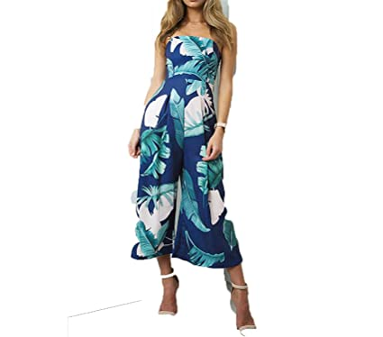 084585ff45f3 Puissant Unique Women Beach Jumpsuit Strapless Print Summers Wide Leg Long  Pants Outfits Sleeveless Playsuit Rompers