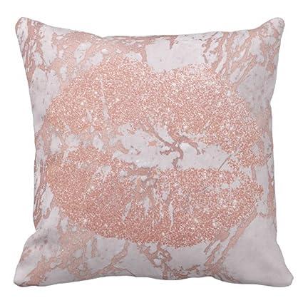 Amazon Emvency Throw Pillow Cover Rose Gold Lips Glitter Blush Amazing Blush Decorative Pillows