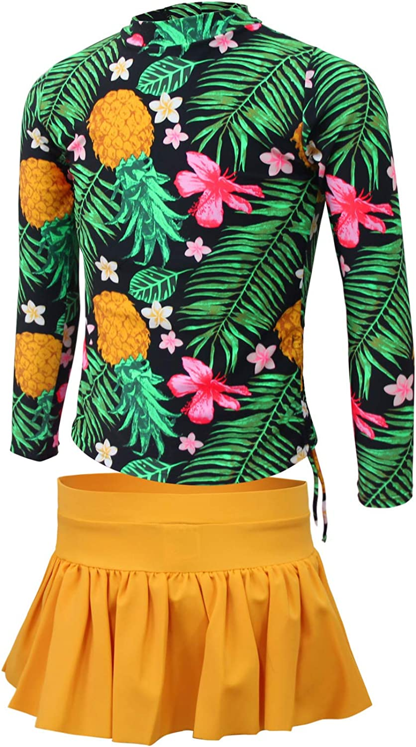 Uhnice Girls Floral Two Piece Swimsuit Long Sleeve Rash Guards Swim Shirt with Hats