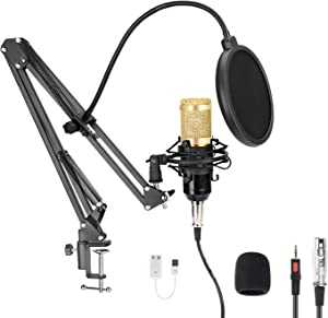 Professional Streaming Podcast PC Microphone, MAYOGA Cardioid Streaming Microphone PC Mic Kit with 3.5mm XLR Sound Card Boom Arm Shock Mount Pop Filter for YouTuber,Karaoke,Podcasting,Studio Recording