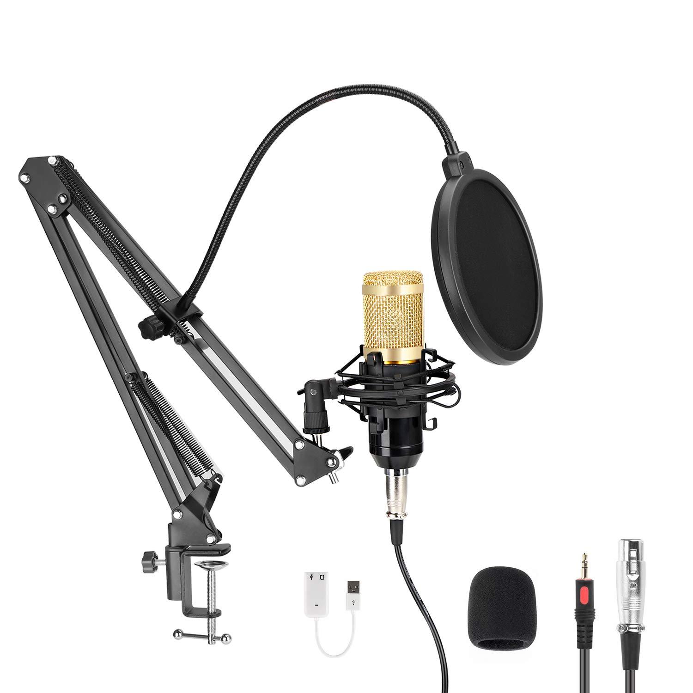 Micrófono de podcast USB para PC, MAYOGA professional 96KHZ / 24Bit Micrófono de condensador de podcast USB con tarjeta