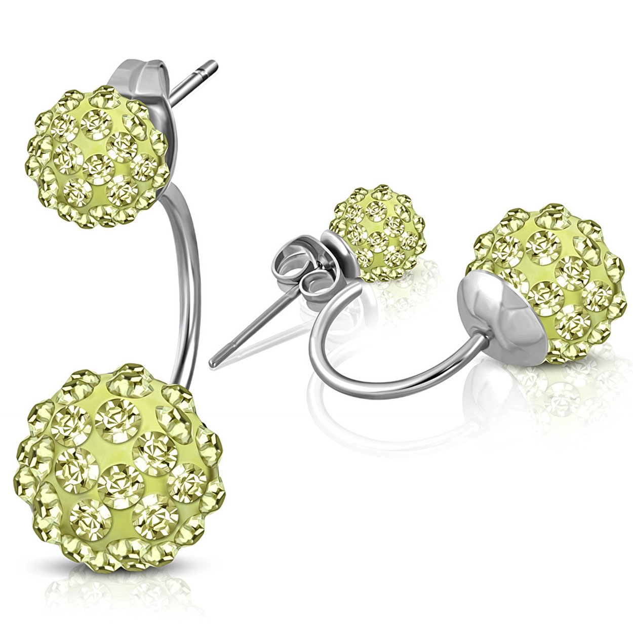 6mm /& 10mm Ball Size Best Wing Jewelry Stainless Steel Double Sided Balls //w Jonquil Yellow CZ Stud Earrings