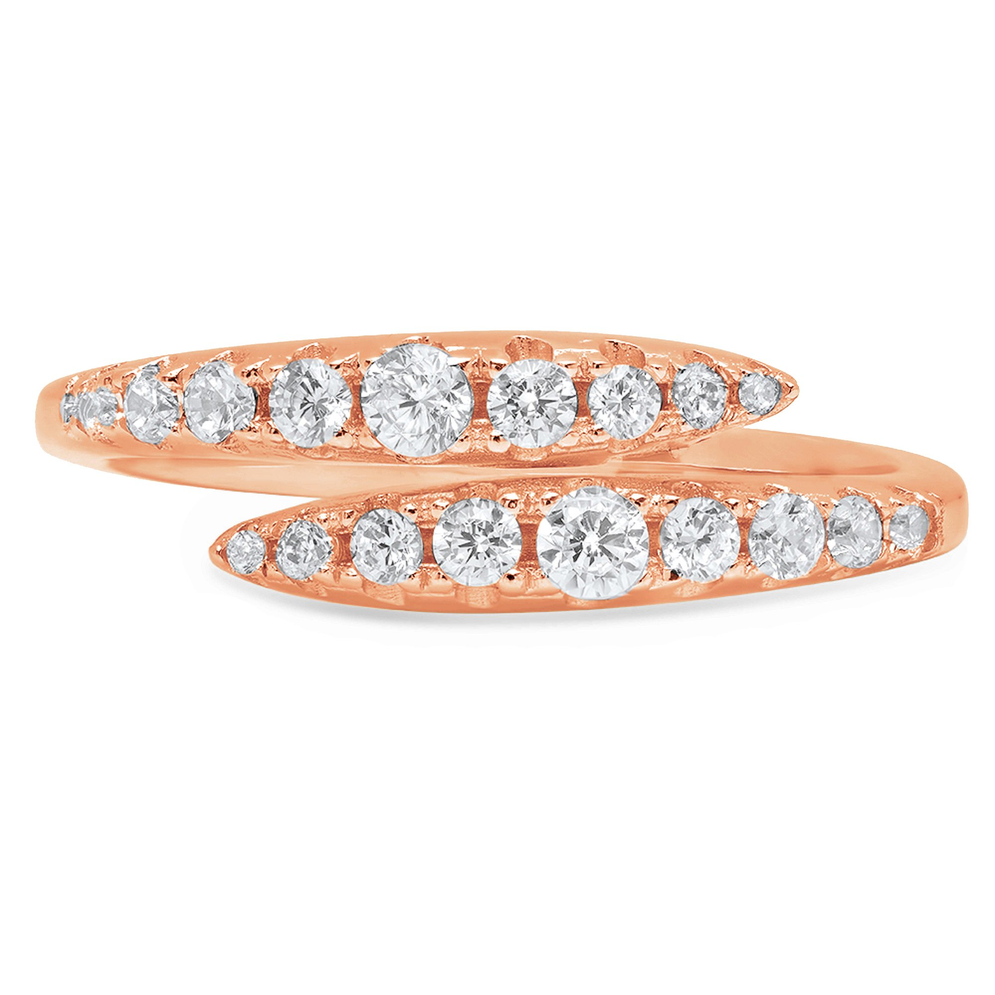 0.60ct Round Brilliant Cut Classic Designer Petite Skinny Infinity Solitaire Statement Bridal Curved Promise Engagement Wedding Anniversary Ring Band Solid 14k Rose Gold, 6.5