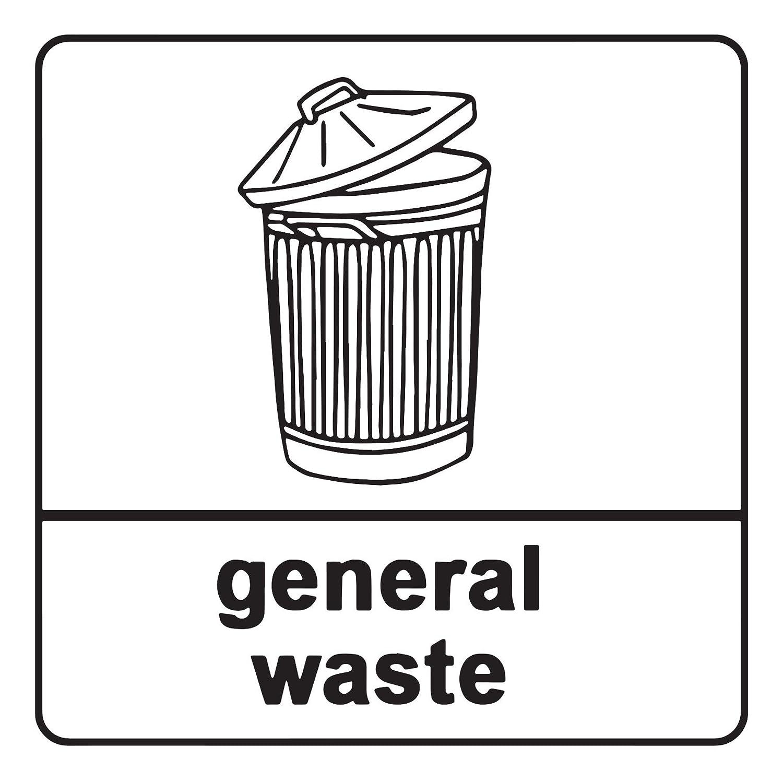 2 x General Waste Recycling Sign Self Adhesive Vinyl Waterproof Sticker