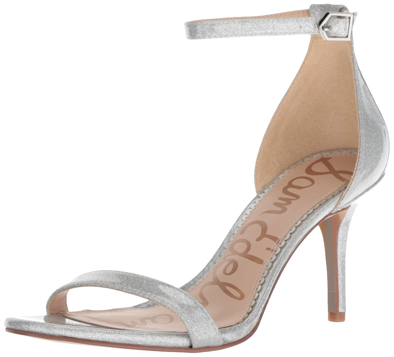 Sam Edelman Women's Patti Heeled Sandal B07BR93WYK 5 B(M) US|Argento Glitter Patent