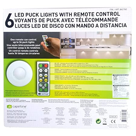 Capstone wireless 6 led puck lights 18 remote control timer dimmer capstone wireless 6 led puck lights 18 remote control timer dimmer aloadofball Gallery